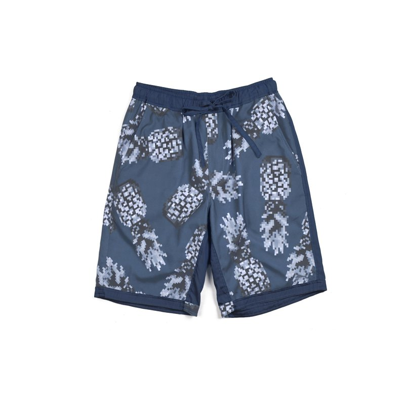 oqLiq - AdHeRe - Mosaic Pineapple Duplex Shorts (Dark Blue)