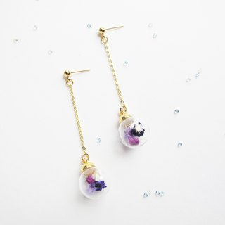 Rosy Garden purple daisies dried flowers glass ball earrings