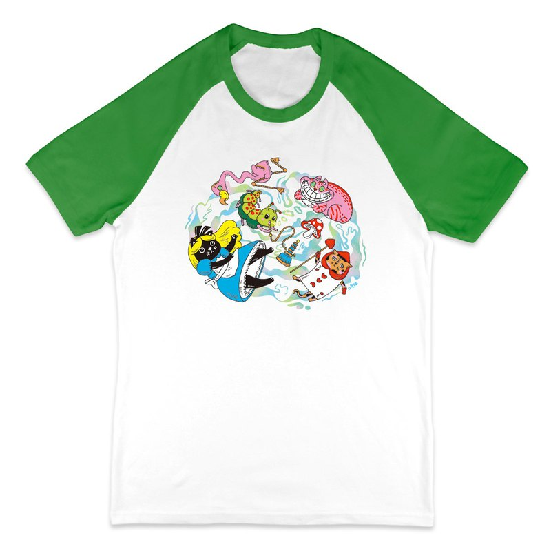 Mimi In Wonderland - White Green - Baseball Short Sleeve T-Shirt