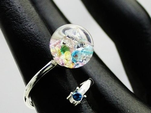 New Bijou glass Ball Silver Ring