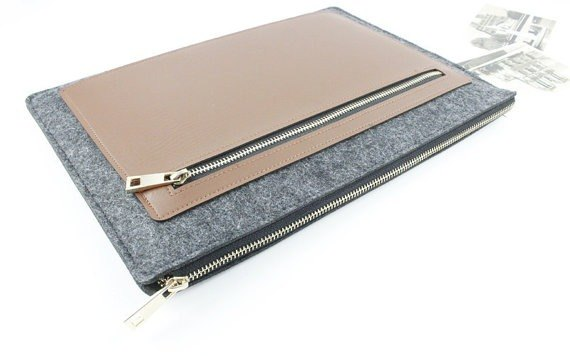Original Pure Handmade Dark Gray Felt Microsoft Computer Case Felt Set Pen Bag Computer Case Surface Book (can be tailored) - 003