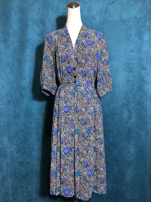 Ping pong ancient [ancient dress / blue and purple complex flowers seven-point sleeve ancient dress] foreign bring back VINTAGE