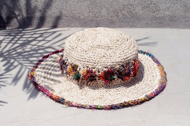 Hand-woven cotton saris line cap / knit cap / hat / straw hat - hand-twisted wire saris woven flowers
