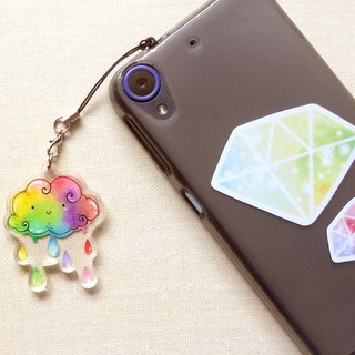 Rainbow Cloud Water Drop Key Ring / Strap / Dust Plug