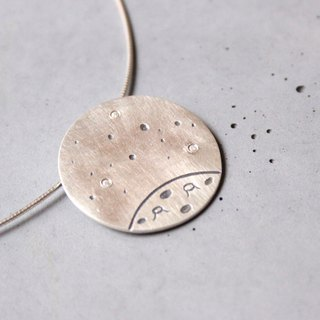 Starry Night - sterling silver necklace with stars and a planet n the night sky