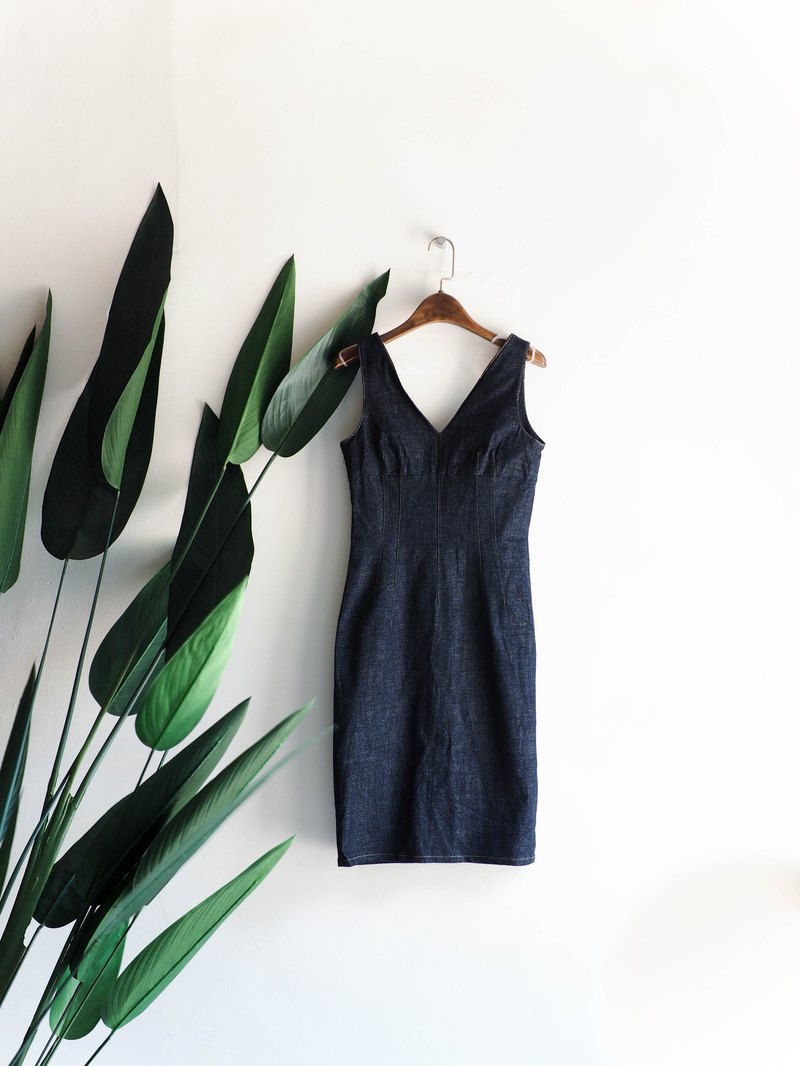 Kawasui-Tokyo dark blue and blue backless spring and summer log antique and tannin strap dress dress