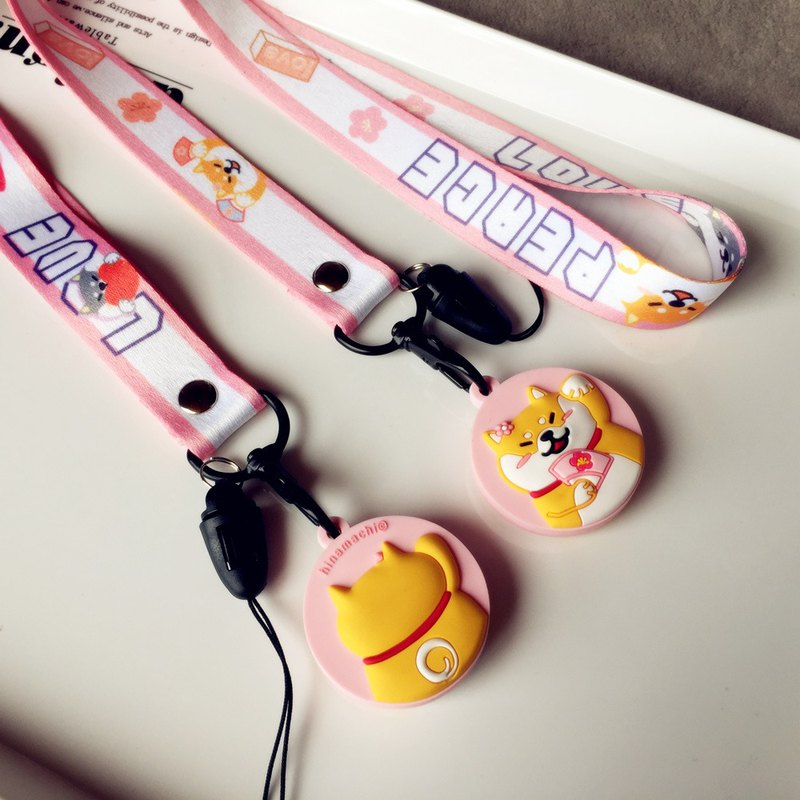 Baise-cho Shiba Inu pink move peach cherry planet shiba ID card with mobile phone strap chest strap strap bag Strap