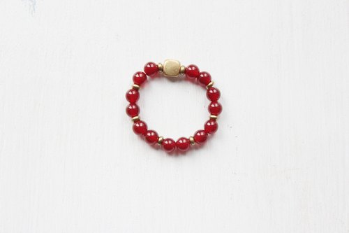 【 Red Agate】classic series-retractable rope rings (Customizable )