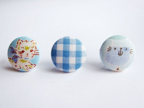Mix & Match cloth buckle earrings blue cat mash do Clip Earrings