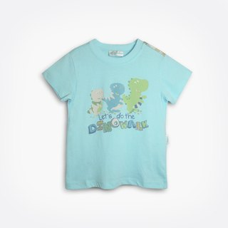 Playful dinosaur water blue short-sleeved shirt