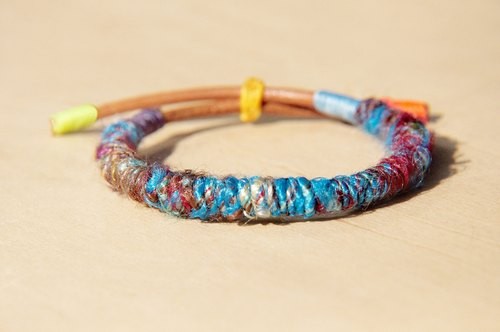 Valentine's Day gift hand-twisted wire sari leather bracelet hand rope bracelet - Limited mysterious blue ocean (adjustable)