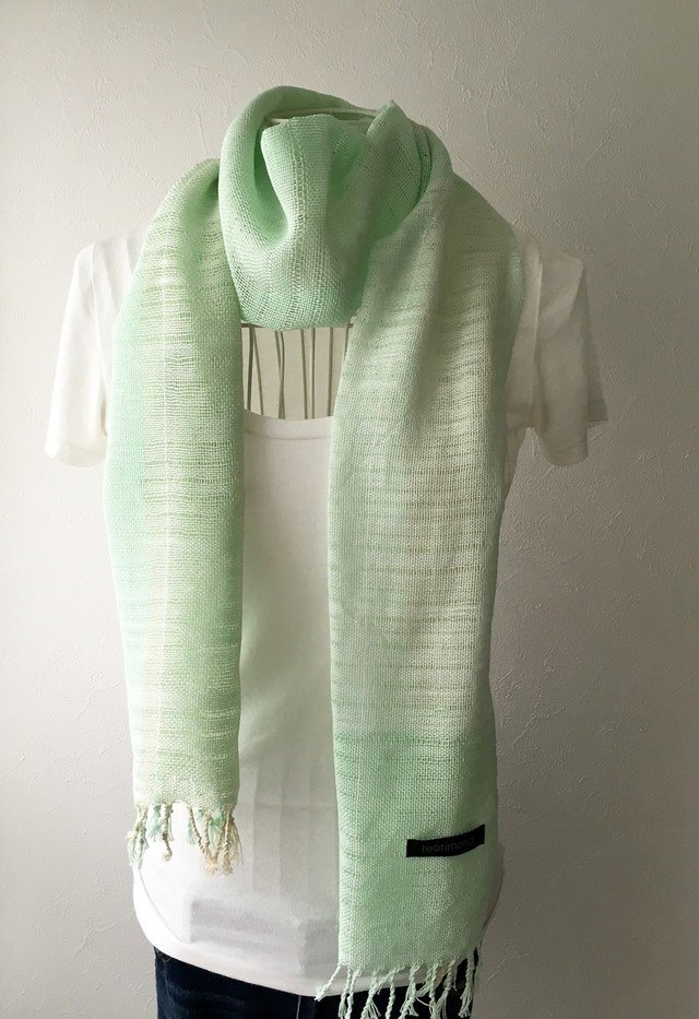 "[Cotton] hand-woven stall ""Soft Green"""