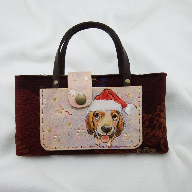 Dog over christmas leather bag mobile phone bag