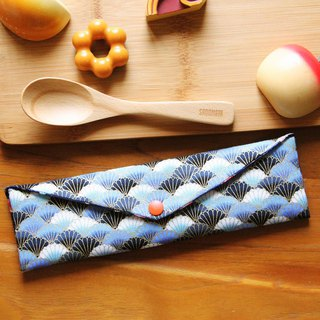 Wen Qing style green chopsticks bag ~ sea shell blue Japanese storage bag hand made cutlery bag. Exchange gifts