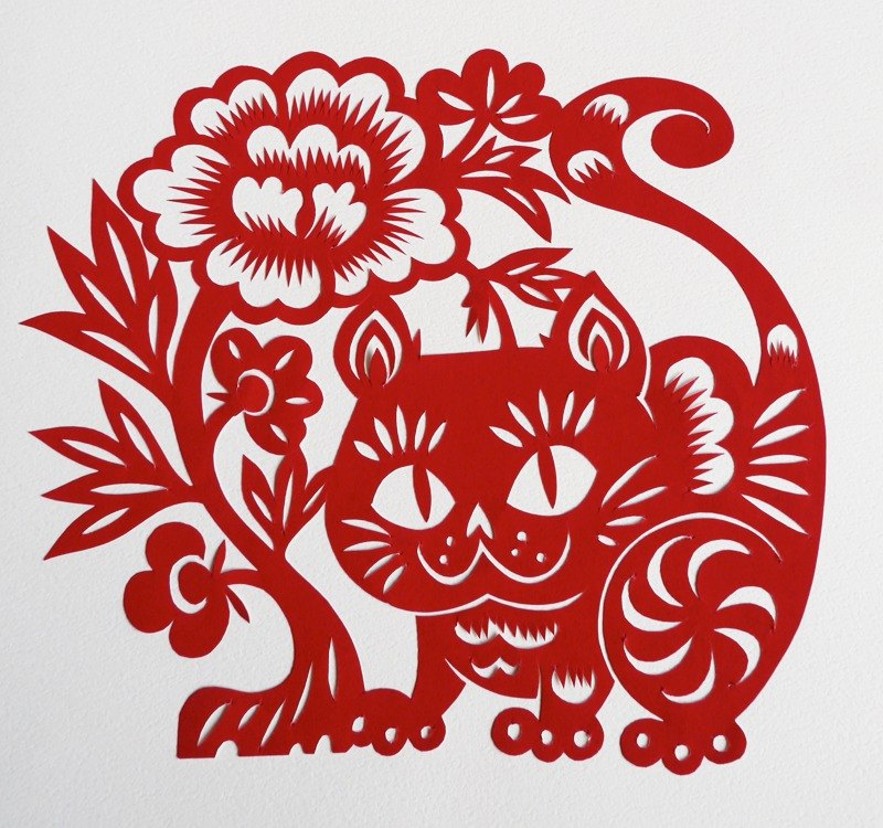 Cut paper · cat and peony [noon peony]