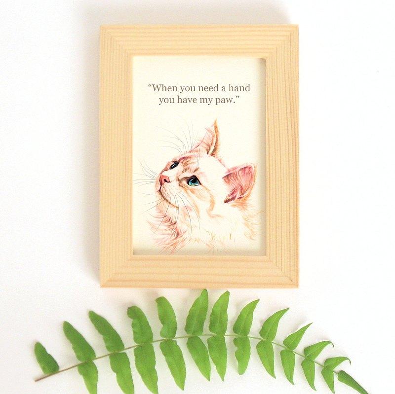 貓思貓言喵語小幅迷你裝飾畫 給貓咪貓奴的禮物 波斯貓