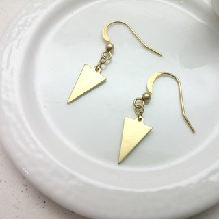 Brass earrings triangular ear hook
