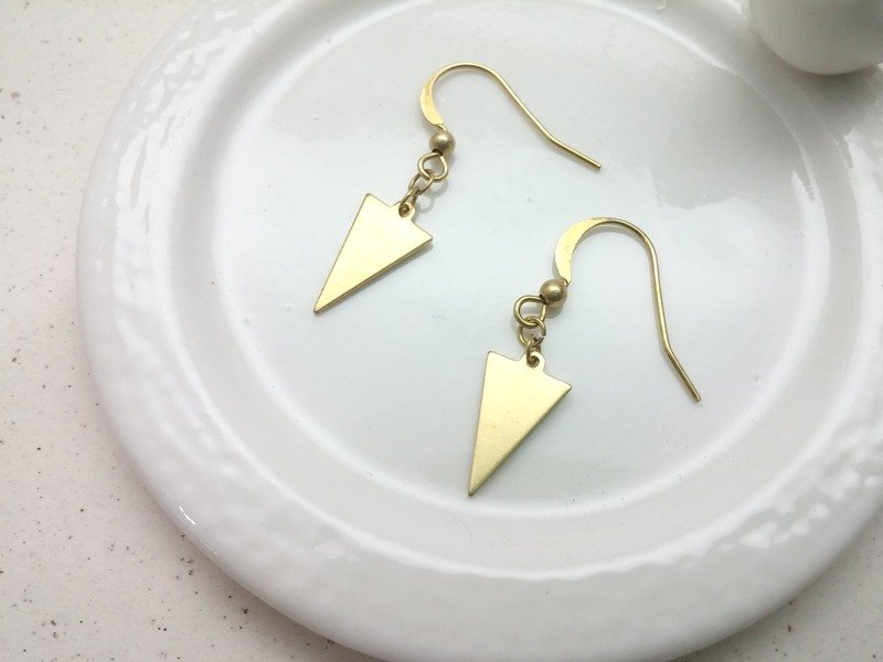 Brass earrings triangular ear hook type (pair)