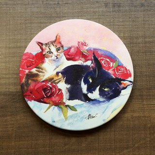 Ceramic Water Cup Coaster - Rose Cat Love