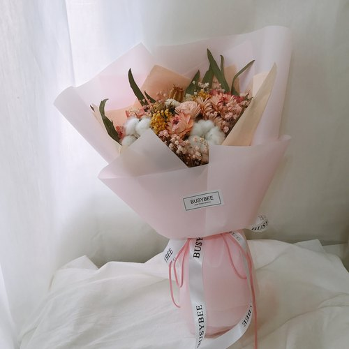 Heart of pink flowers dry bouquet confession bouquet