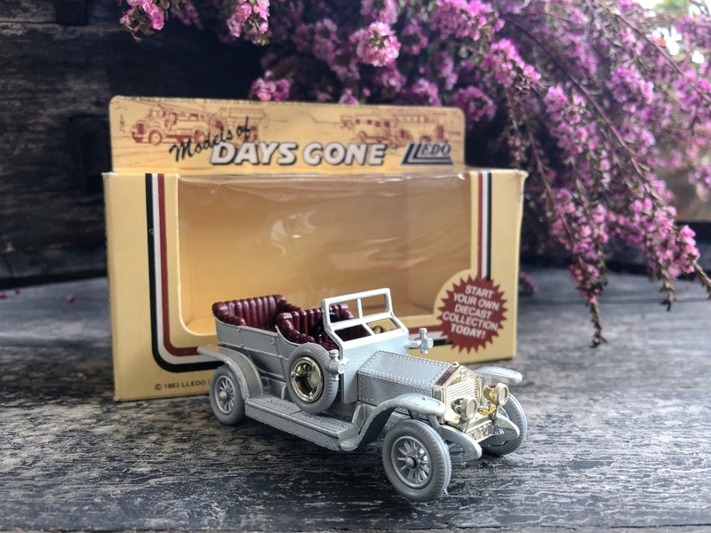 British made early silver convertible sports car with original box J