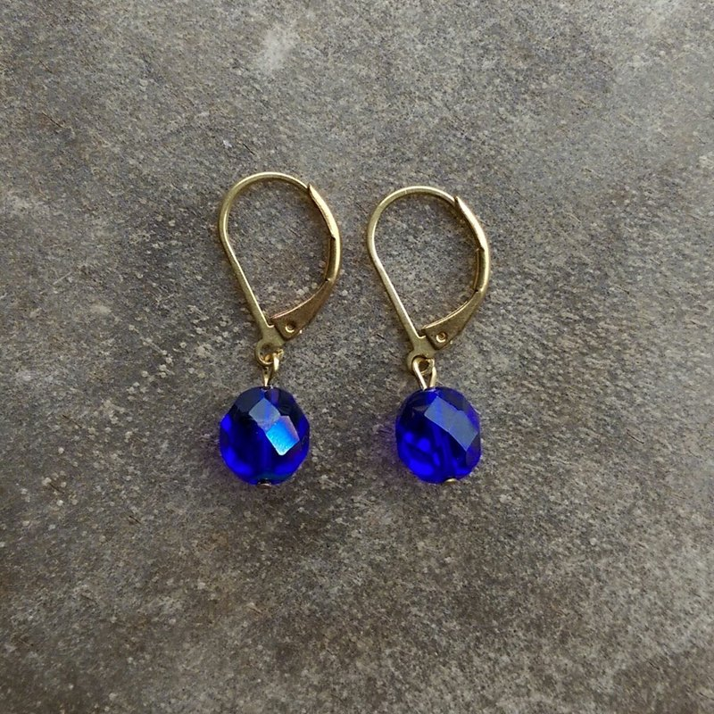 Cobalt Blue Glass Earrings