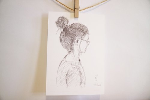 Like sketch / portrait 2 / hand-painted / card postcard