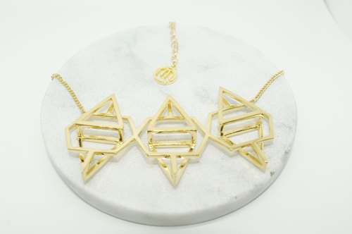 Geometric Metal Necklace Geometric Stereo Short Practice Geometric 3D necklace
