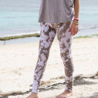 Uneven dyeing stretch leggings long pants <Brown White>