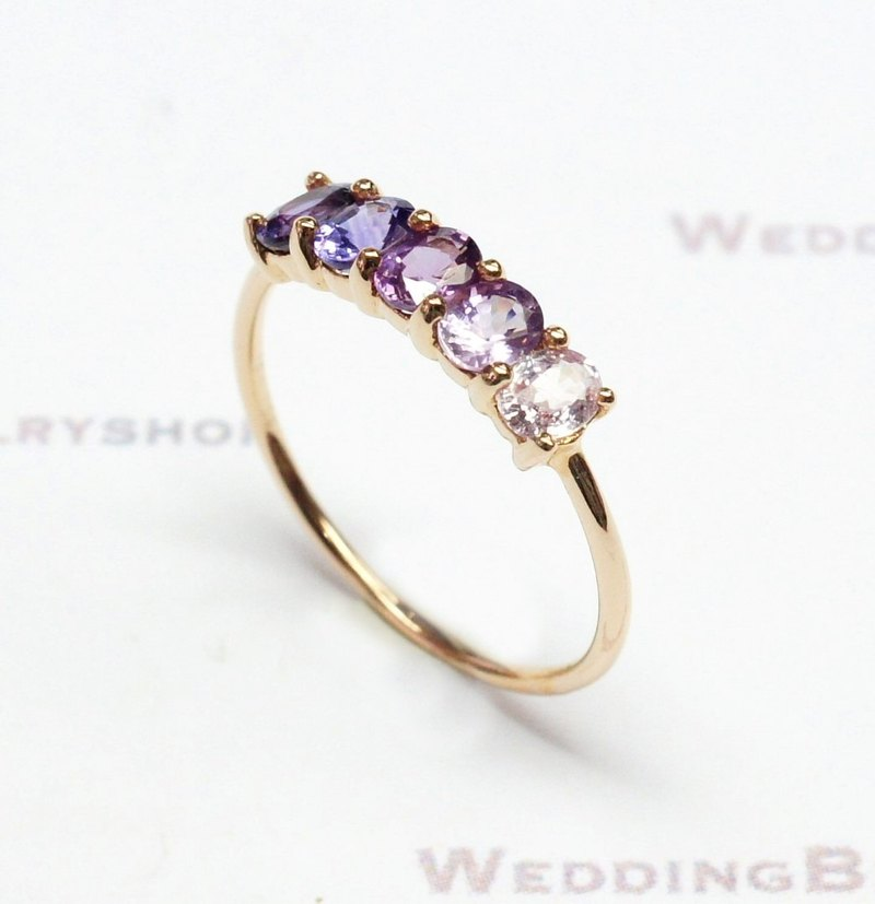 18K Rose Gold / Purple Colored Sapphire Stackable Ring / Oval / gradient color (free shipping)
