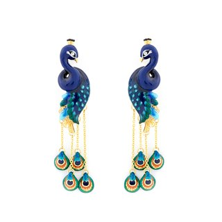 Green Peafowl Peacock Earrings