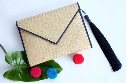 Navy - Envelope Clutch, Handbag, Handwoven Purse, Crossbody Bag, Minimalist Handbag, Vegan Friendly Bag