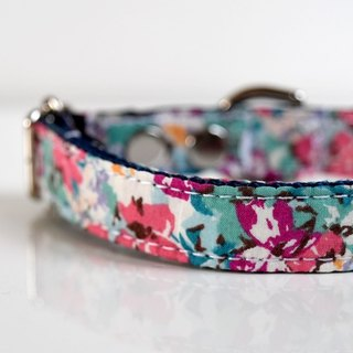 Ocean Floral Dog Collar - ocean blue, purple, pink Size Small