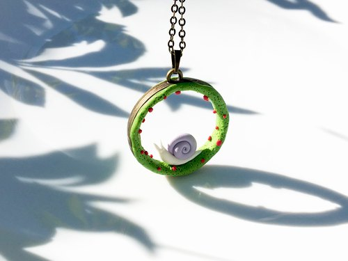 Walking with little Snail| Polymer Clay Pendant