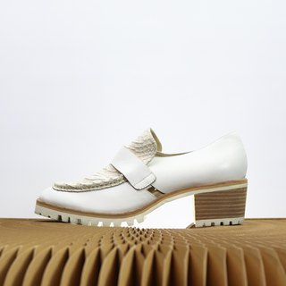 beige snake pattern with white leather loafer heels