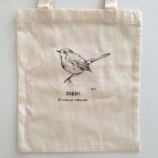 Pure hand-painted bird cotton shopping bag ‧ Robin