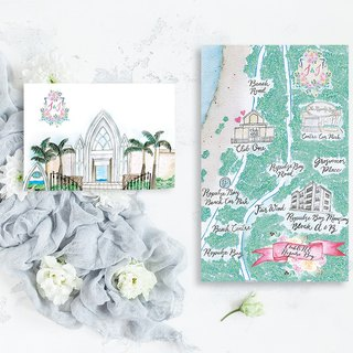 Custom hand-painted watercolor Western wedding map Wedding map map card computer file