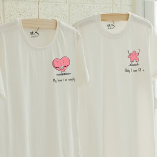 [Valentine's Day] Heart Puzzle Couples Cotton T/Short Sleeve T-shirt/Best Couple