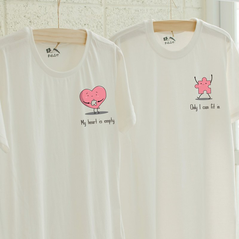[Valentine's Day gift] Heart puzzle couple cotton T / short-sleeved T-shirt / couple must-have
