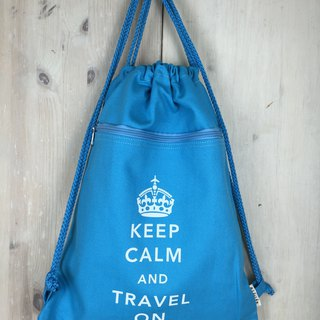 Keep Calm & Travel On Drawstring Backpack - Light Blue