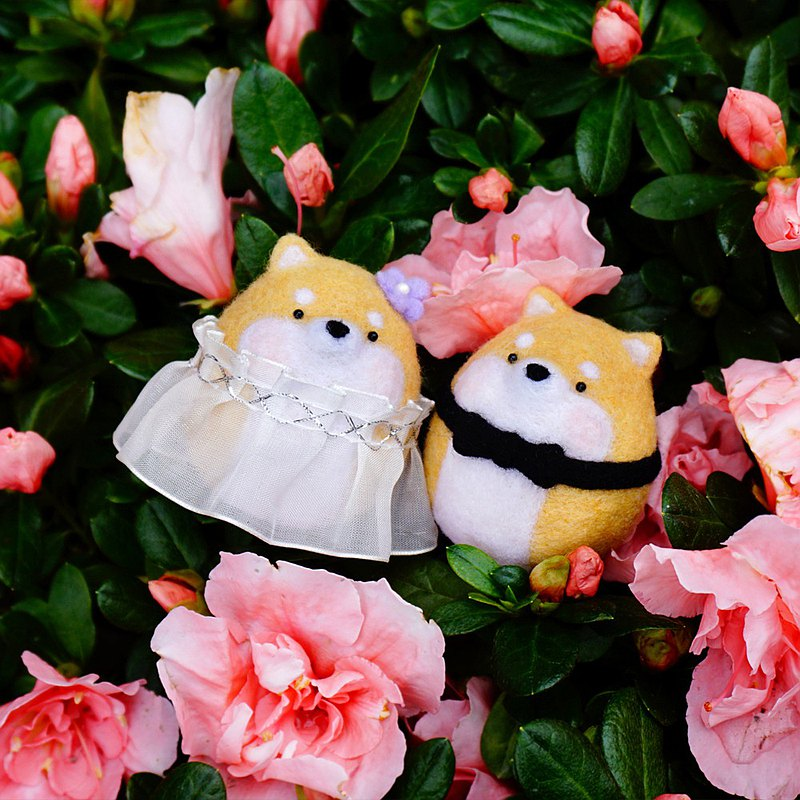 情人節結婚禮物婚禮 羊毛氈新郎新娘擺飾鑰匙圈掛飾胸針別針