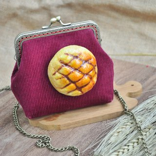 [For Handmade Wool Felt] Pineapple Bread Decoration Small Gold Package - Red - Attached 110cm Metal Back Chain