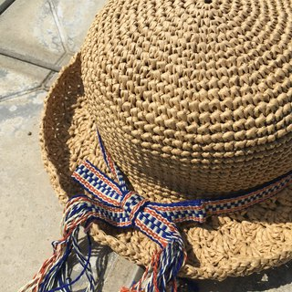Go fishing together. Hand-woven ribbon loose knot paper straw hat