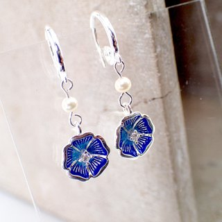 Blue Flower Silver 925 & Fresh Water Pearl Earrings