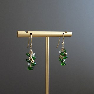 Chrome Diopside Faceted Rondelles, Moonstone Beads Cluster 14KGF Dangle Earrings