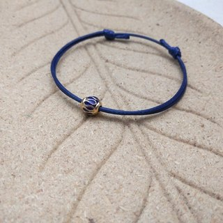 Wax line bracelet retro blue beads plain simple wax rope thin line