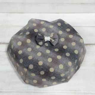 Temperament dot plaid lace bow beret