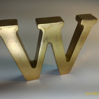 Early export European and American old collection industrial wind English word copper letter paper town decoration (W)