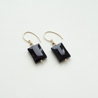 ::Geometry:: Black Onyx Baguette Cut Rectangle 14K Gold Filled Dangle Earrings