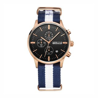BAOGELA - VENICE Rose Gold Black Dial / Blue and White NATO Watch